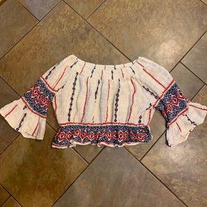Womens S Raga Cropped Shirt Cinched